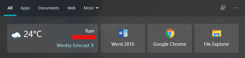 Weather Forecast In Windows Search