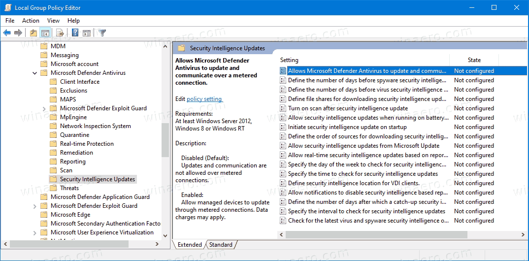 Defender Antivirus Security Intelligence Updates In Group Policy