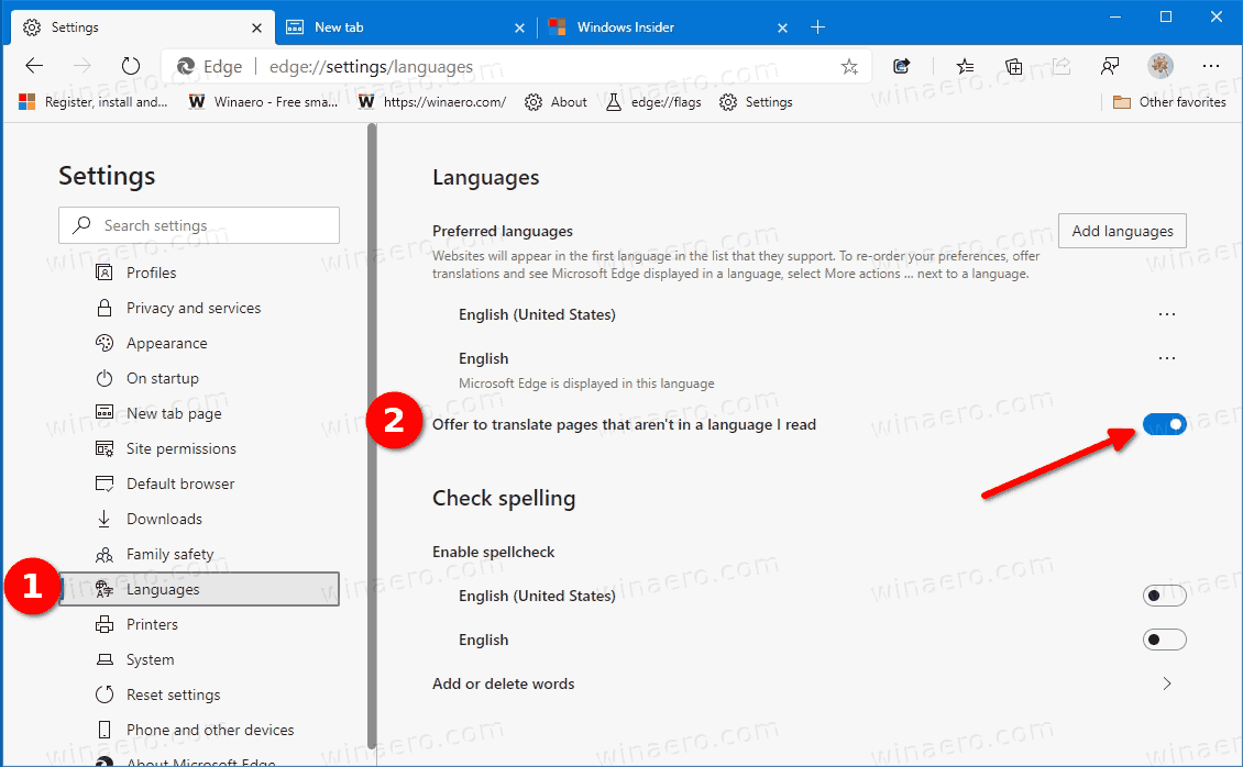 Edge Disable Translate Page Offer