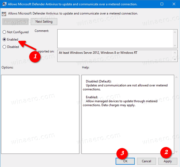 Enable Defender Antivirus Security Intelligence Updates Over Metered Connections In Group Policy