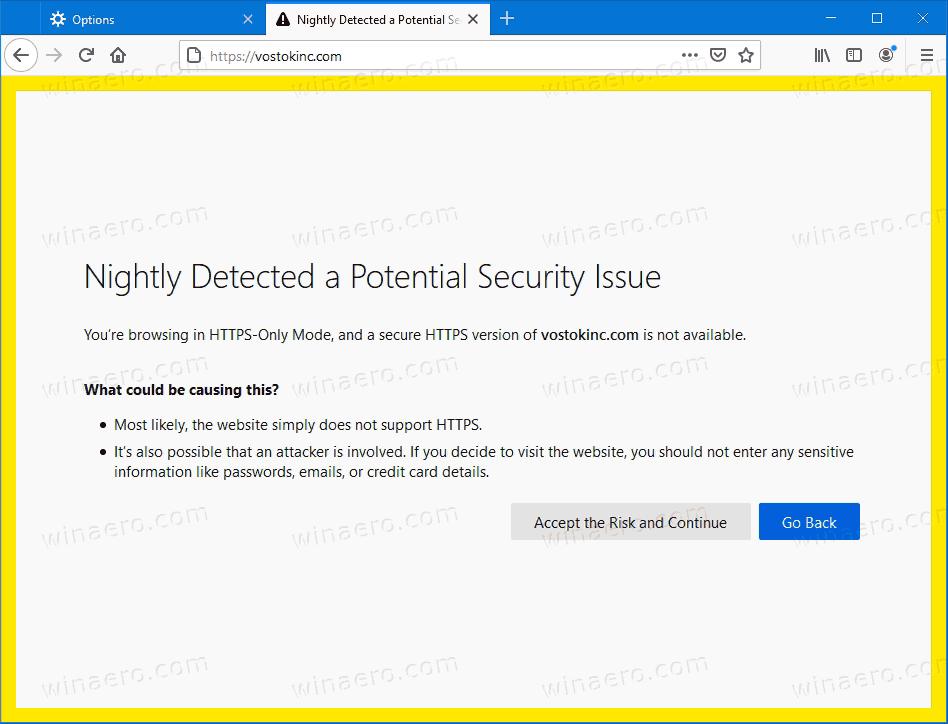 Firefox HTTPS Only Browsing Mode Warning