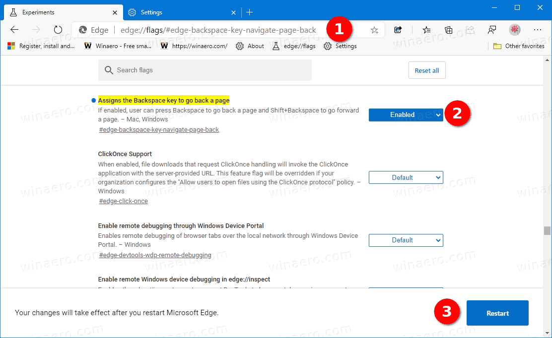 Microsoft Edge Assign Backspace To Go Back A Page