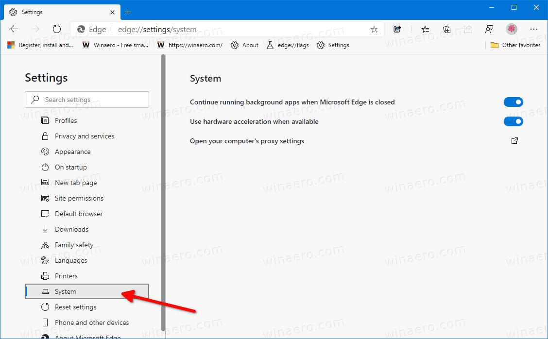 Microsoft Edge Settings System Category