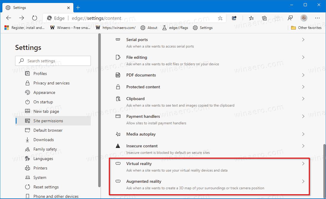 Microsoft Edge Virtual Augmented Permissions