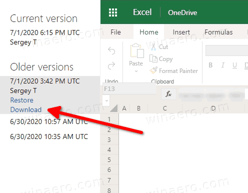 OneDrive File Version History Actions In Edge Browser