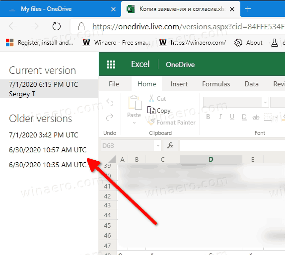 OneDrive File Version In Edge Browser