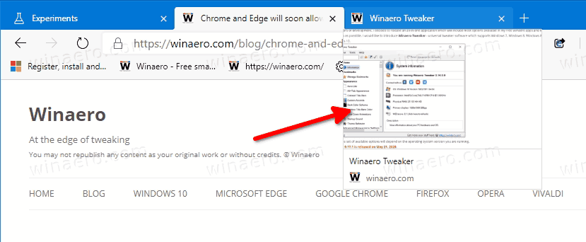 Tab Preview Hover Cards Enabled In Microsoft Edge