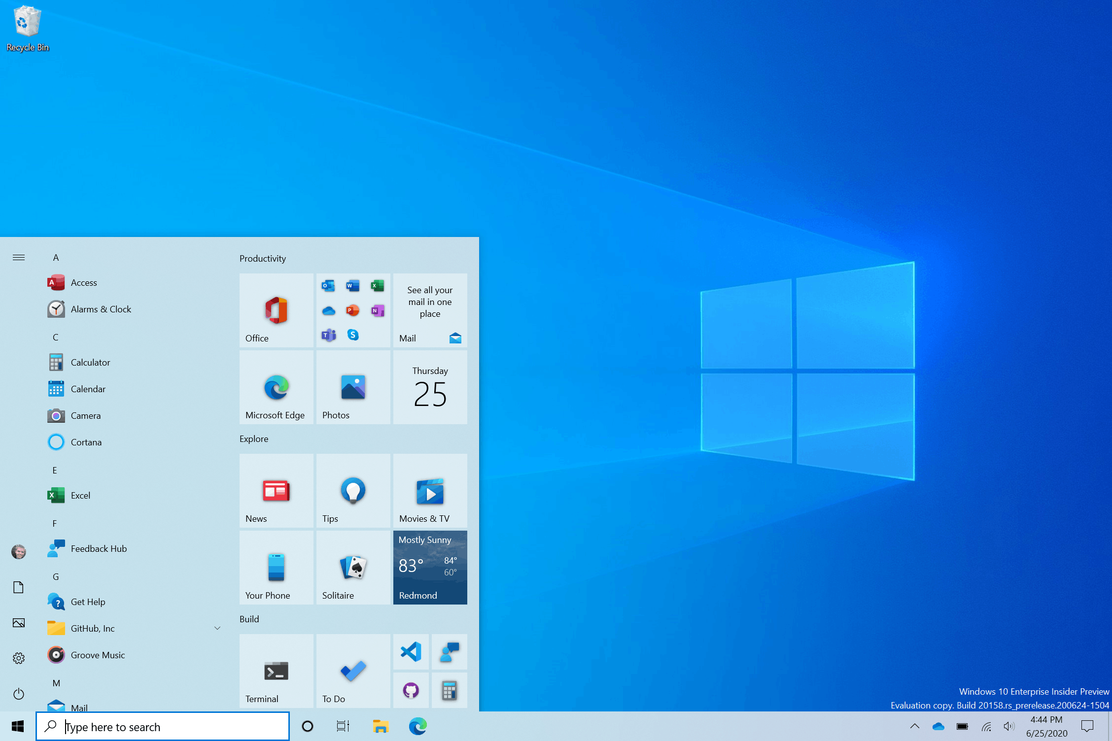 Windows 10 Start Menu Tiles Light