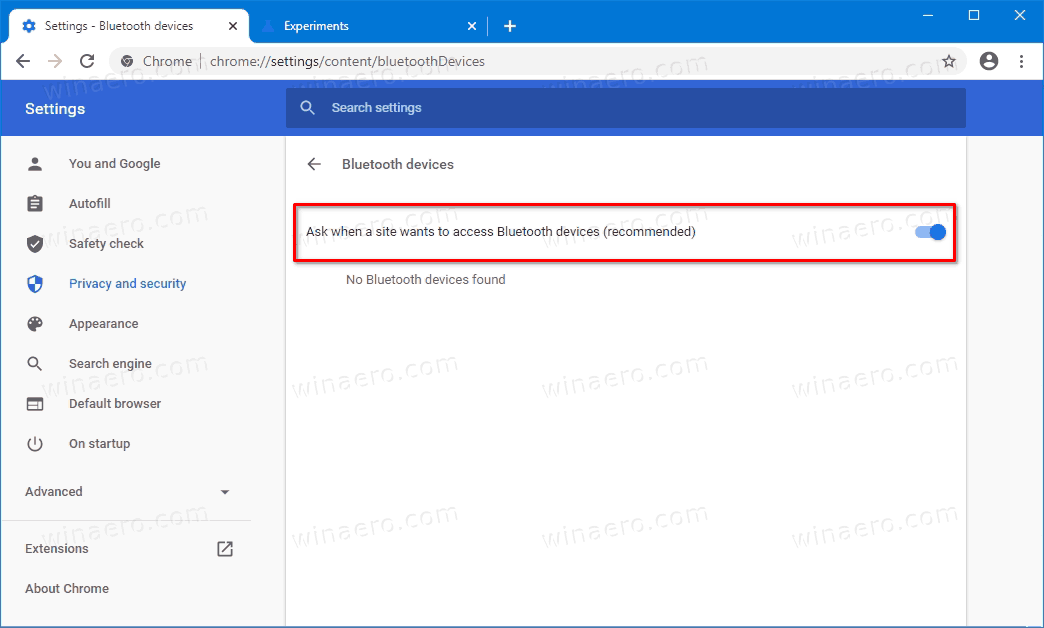 Ask When A Site Wants To Access Bluetooth Devices