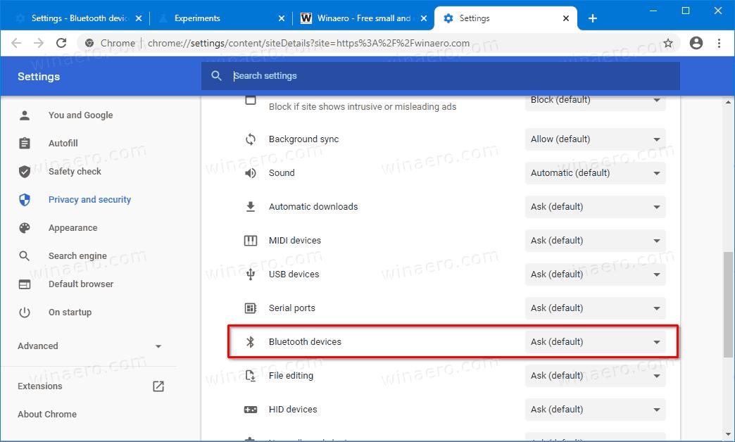 Bluetooth Device Permission Per Site In Google Chrome