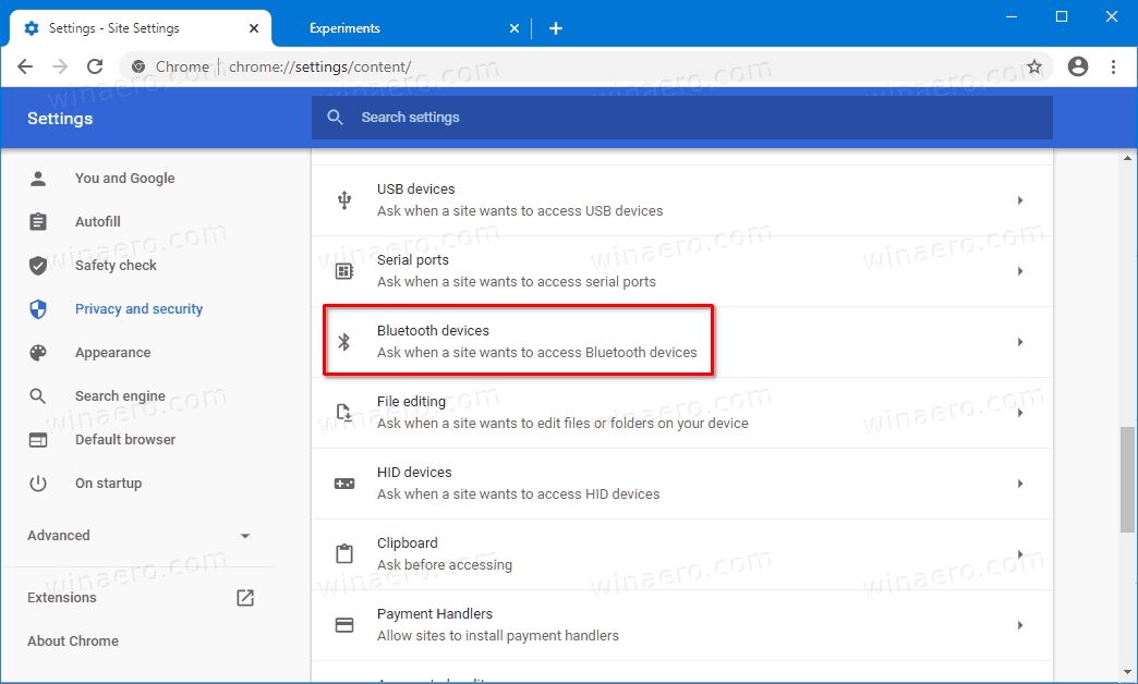 Bluetooth Permissions Option In Google Chrome