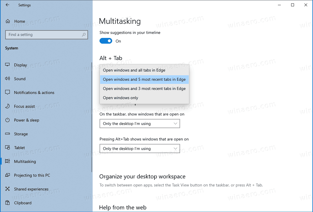 Disable Edge Tabs In Alt+Tab Dialog In Windows 10