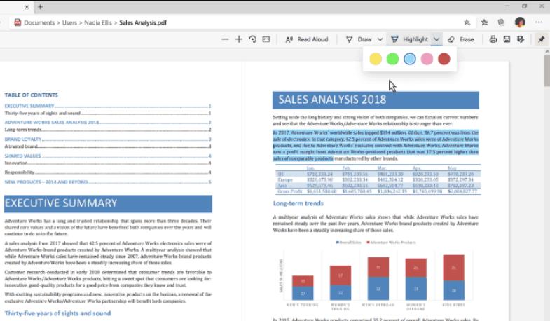 Edge PDF Highlight