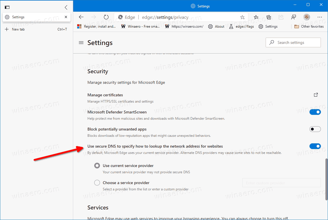 Enable DNS Over HTTPS In Microsoft Edge