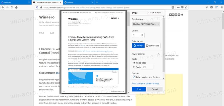 Firefox 81 New Print Dialog