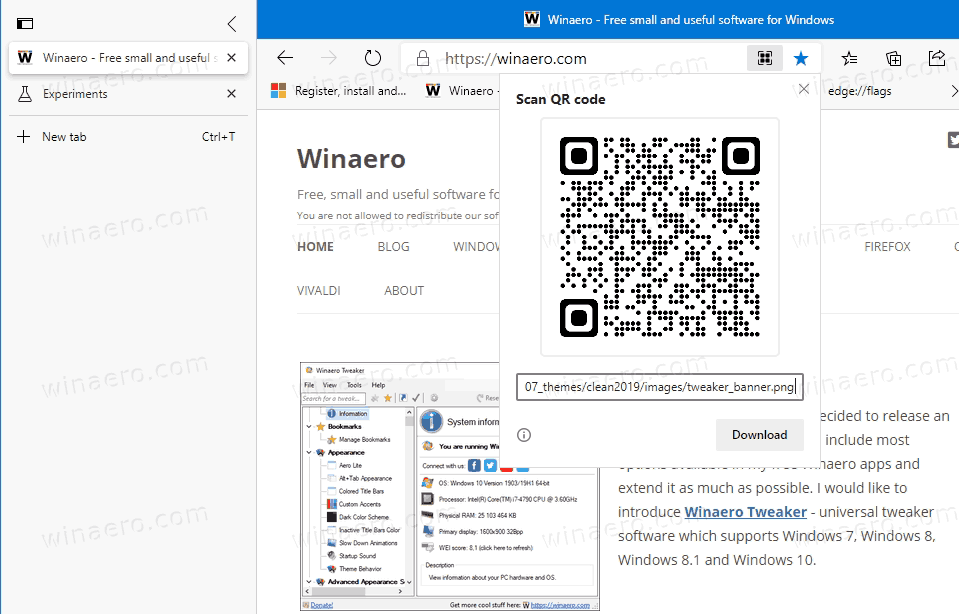 QR For Image In Microsoft Edge