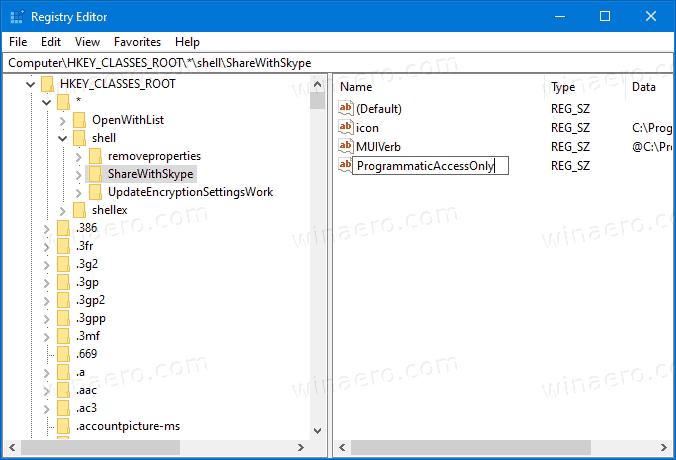 Remove Share With Skype From Context Menu For Skype Desktop App