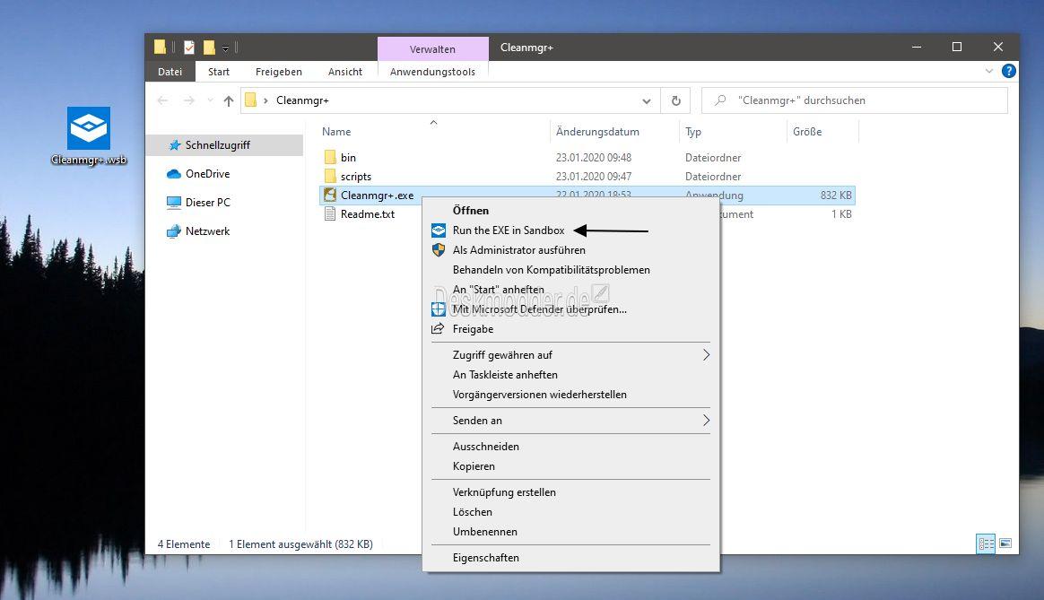 Run In Sandbox Installationen Direkt Ueber Das Kontextmenue Starten Windows Sandbox 002