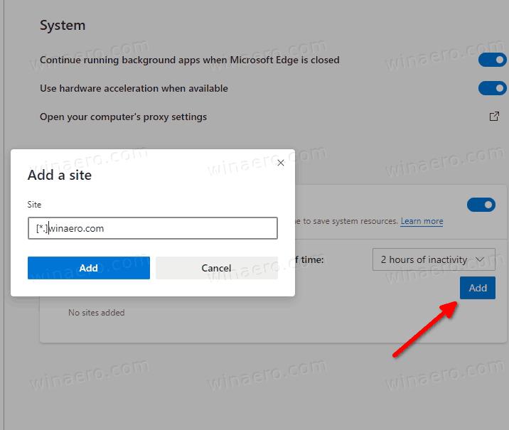Add Sleeping Tabs Exclusion In Microsoft Edge Settings