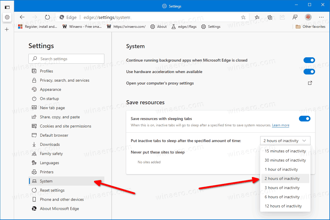 Configure Sleeping Tabs In Microsoft Edge 3809601953995