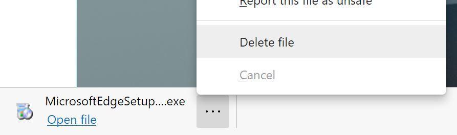Edge Dev Delete Downloaded File Directly