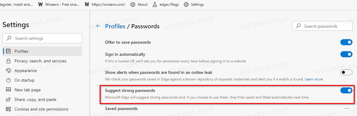Edge Disable Or Enable Suggested Passwords