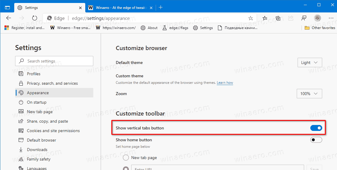 Edge Remove Vertical Tabs Button In Settings