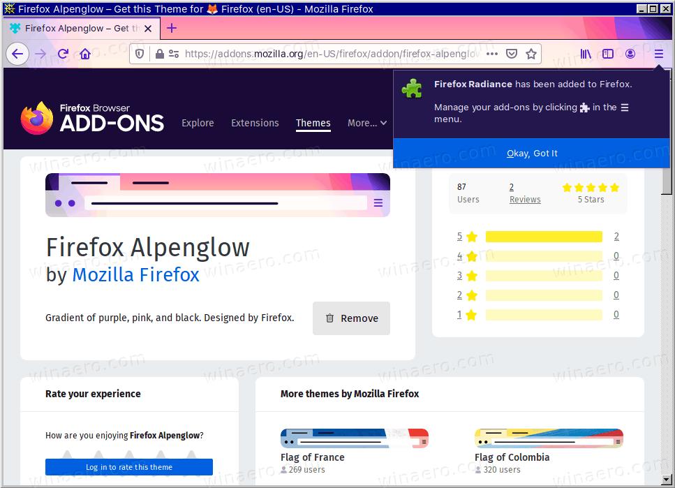 Firefox New AlpenGlow Theme Radiance