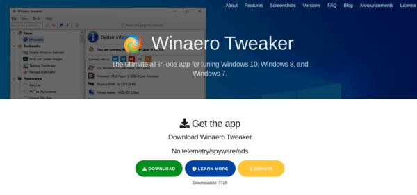 Winaero Tweaker Web Site