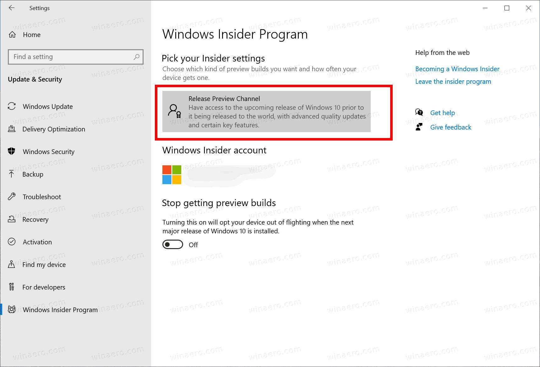 Windows 10 Change Insider Channel
