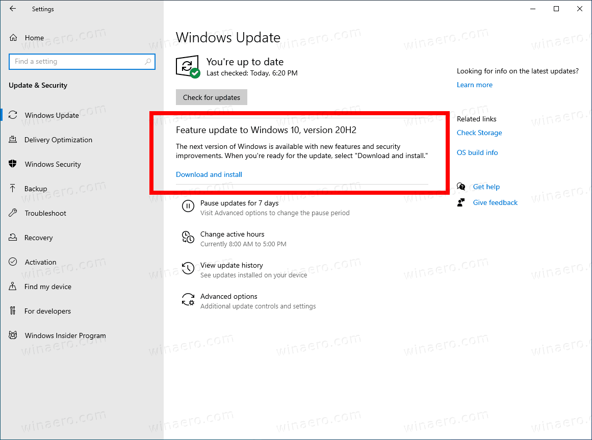 Windows 10 Download And Install 20H2