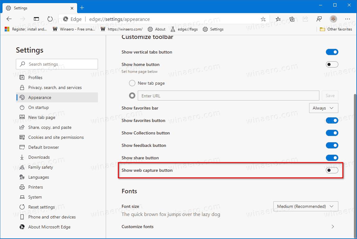 Add Remove Web Capture Toolbar Button