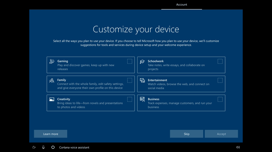 Build 20231 New Oobe With Checkboxes