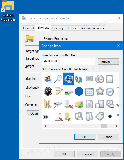 Classic System Properties Shortcut Icon
