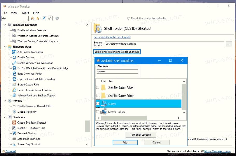 Classic System Properties Shortcut With Winaero Tweaker