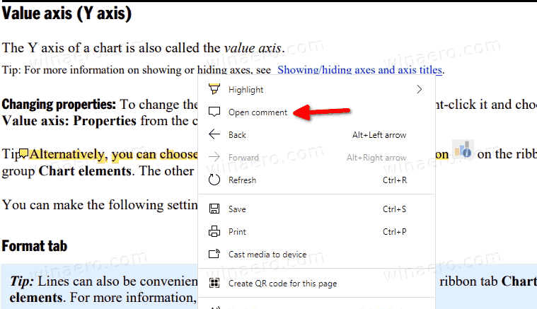 Edge Open Comment For PDF Selection