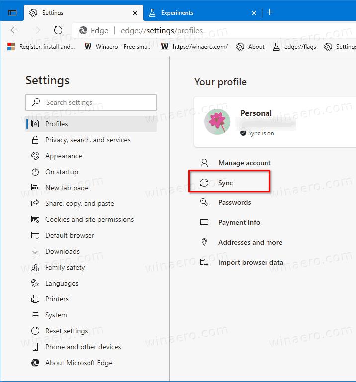 Edge Settings Profiles Sync Link