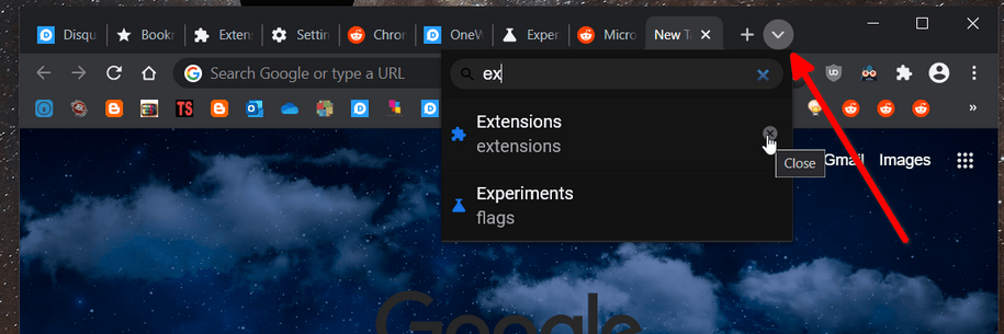 Google Chrome Tab Search UI