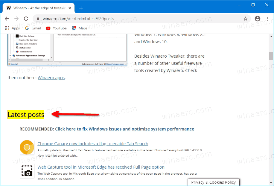 Link To A Text Fragment On A Web Page Highlighted