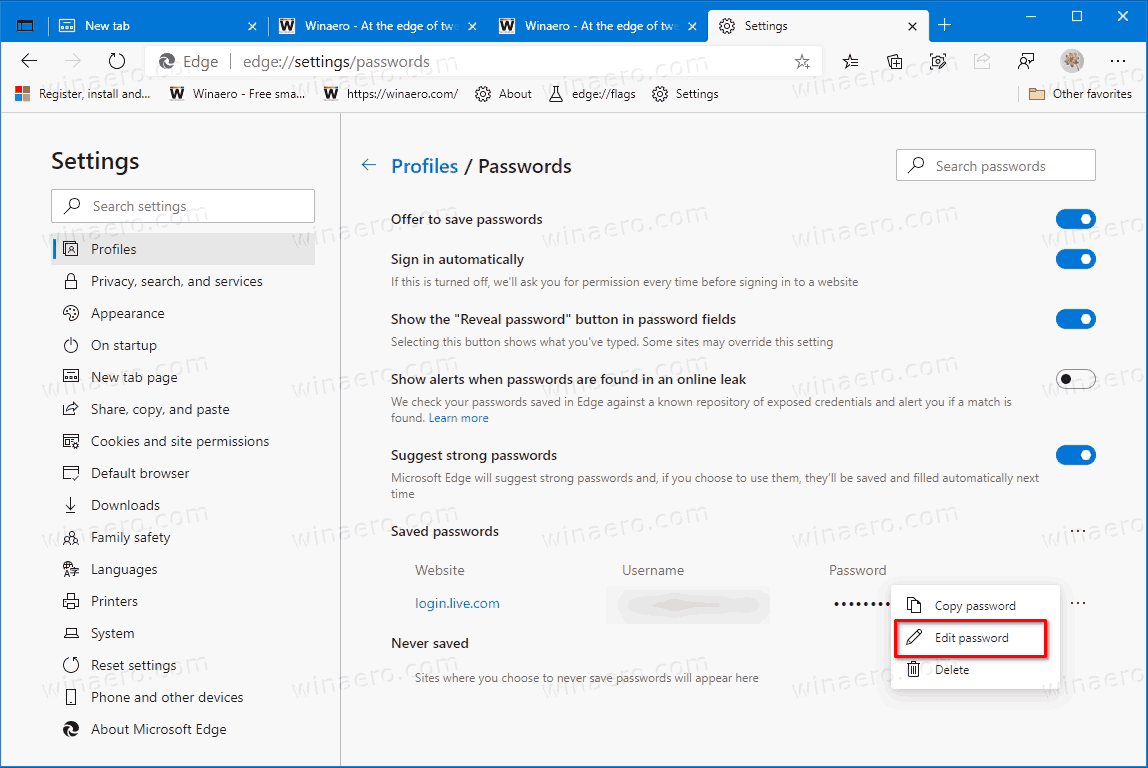 Microsoft Edge Edit Saved Password