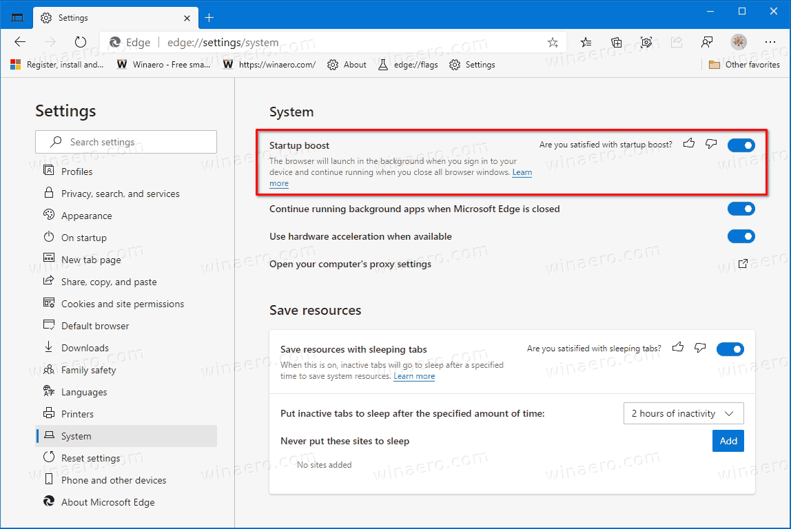 Microsoft Edge Enable Startup Boost
