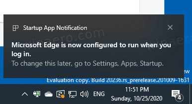 Microsoft Edge Startup Boost Enabled Notification