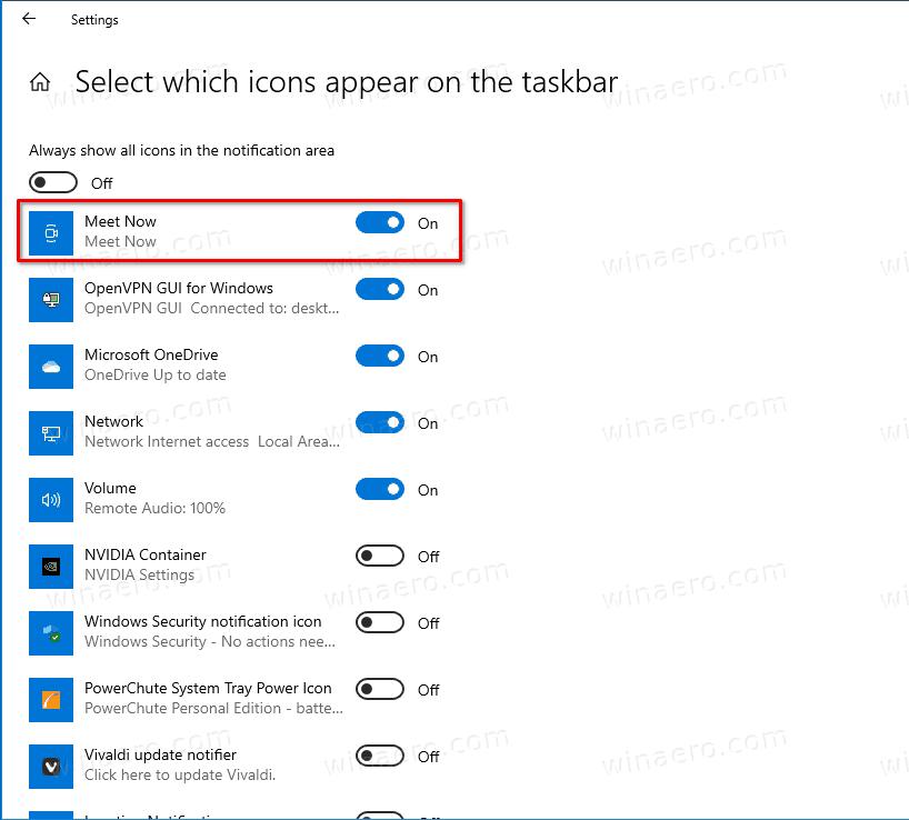 Show Or Hide Meet Now Taskbar Button