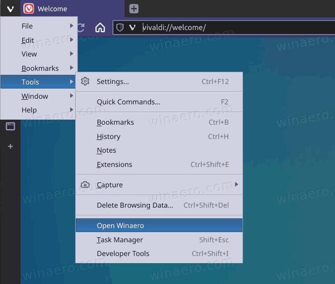 Vivaldi Custom Link In The Tools Menu