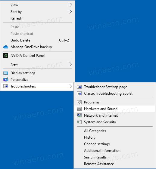 Windows 10 Add Troublershooters Context Menu