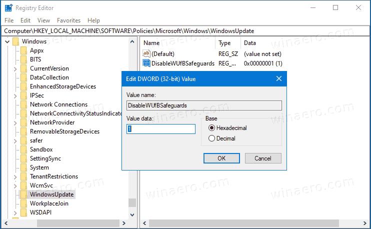 Windows 10 Disable Feature Upgrade Blocks