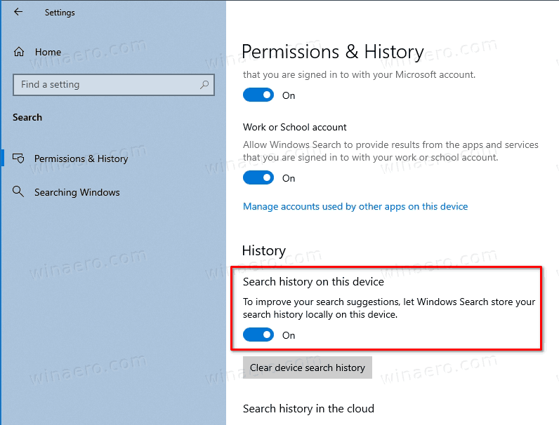 Windows 10 Search Enable Recent Items