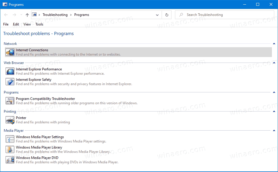Windows 10 Troublershooters Category Opened