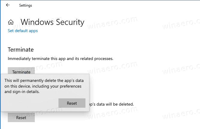 Windows Security Reset App Confirmation