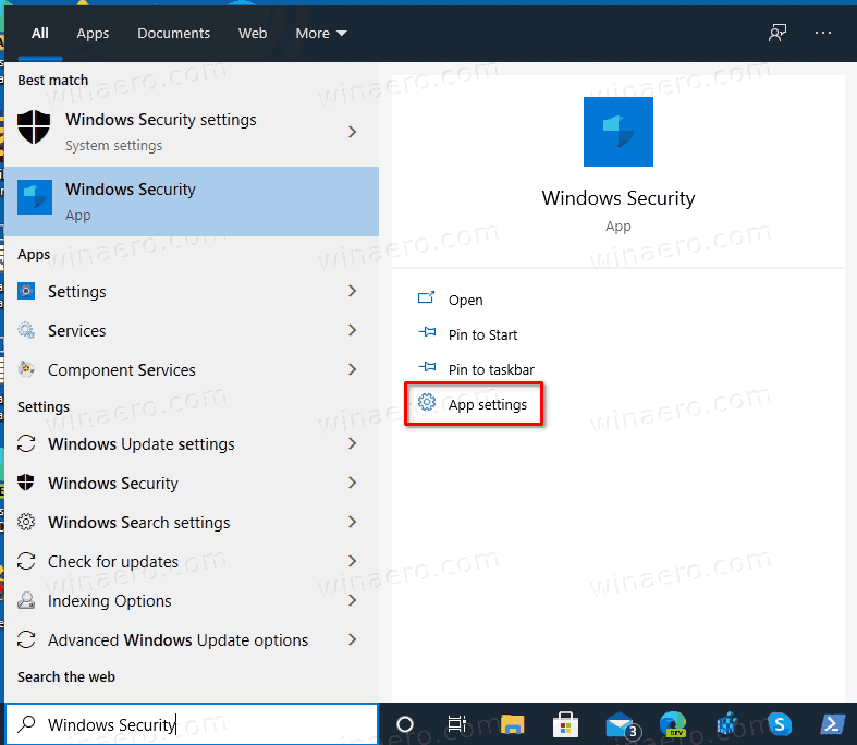 Windows Security Shortcut In Search Options